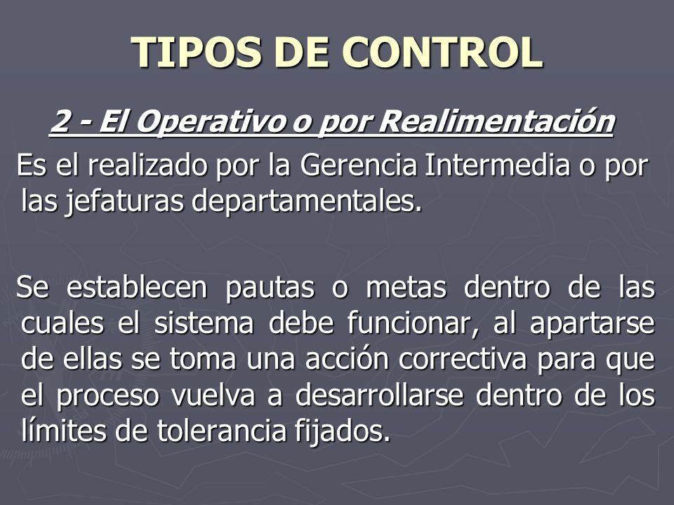 TIPOS DE CONTROL 2 - El Operativo o por Realimentación Es el realizado por la Gerencia Intermedia o por las jefaturas departamentales. Es el realizado