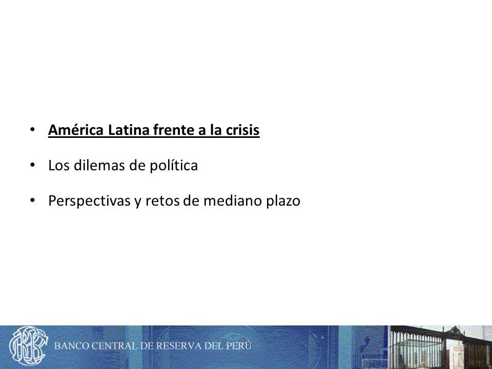 América Latina frente a la crisis Los dilemas recientes de política Perspectivas y retos de mediano plazo 43