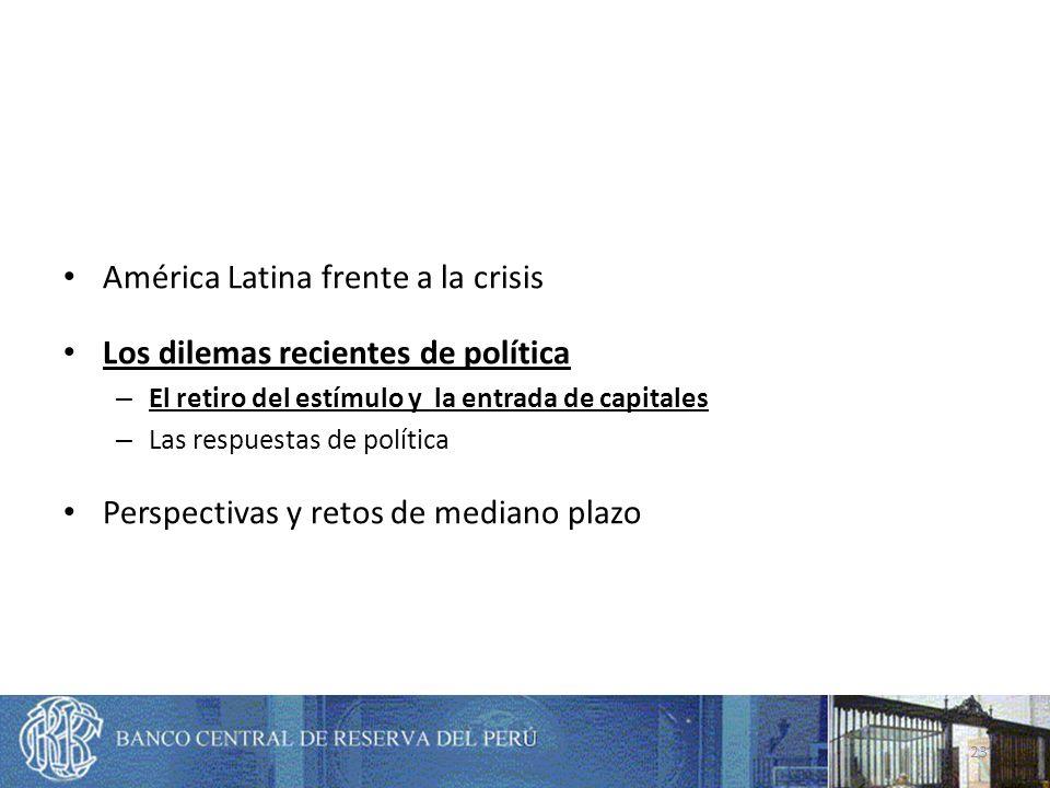 América Latina frente a la crisis Los dilemas recientes de política – El retiro del estímulo y la entrada de capitales – Las respuestas de política Perspectivas y retos de mediano plazo 23