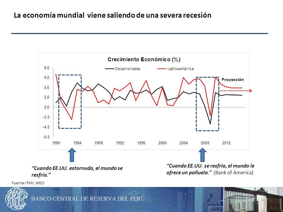 Sin embargo, la recuperación ha sido desigual entre países desarrollados y emergentes Fuente: FMI, WEO 4
