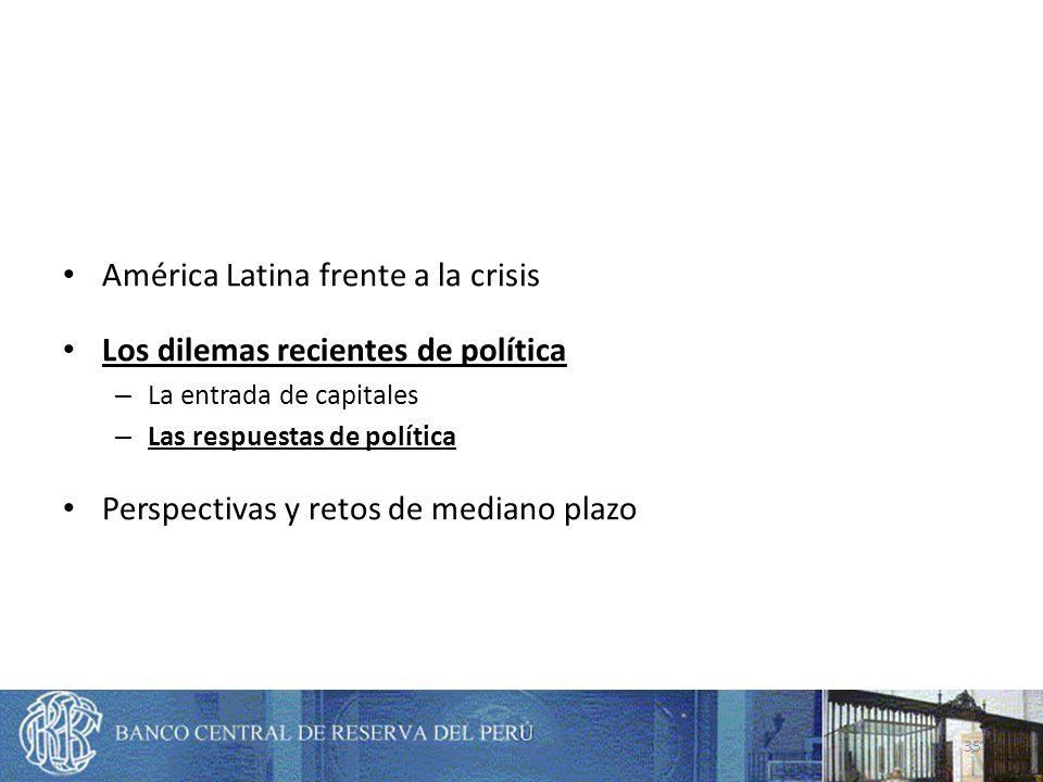 América Latina frente a la crisis Los dilemas recientes de política – La entrada de capitales – Las respuestas de política Perspectivas y retos de mediano plazo 35