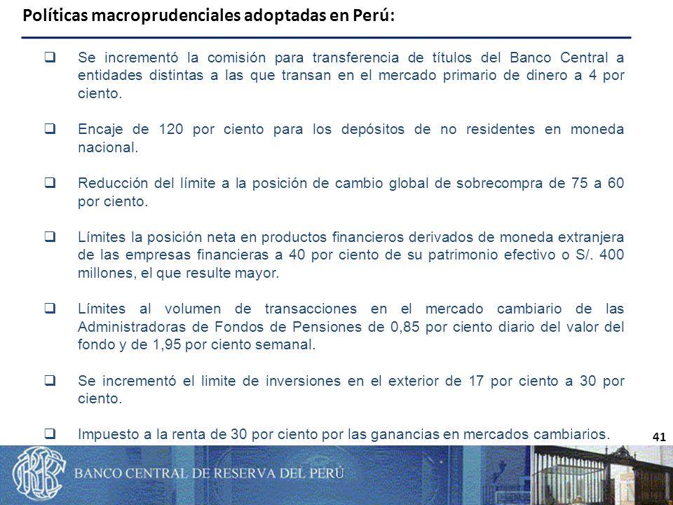 Políticas macroprudenciales adoptadas en Perú: 41 Se incrementó la comisión para transferencia de títulos del Banco Central a entidades distintas a las que transan en el mercado primario de dinero a 4 por ciento.