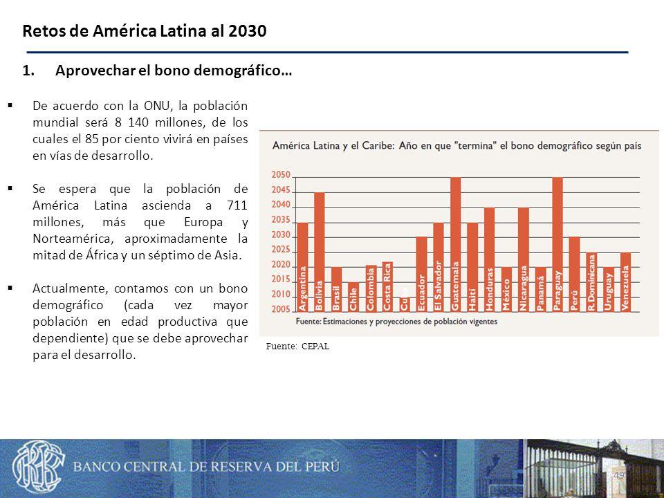 49 Retos de América Latina al 2030 1.Aprovechar el bono demográfico… Fuente: CEPAL De acuerdo con la ONU, la población mundial será 8 140 millones, de los cuales el 85 por ciento vivirá en países en vías de desarrollo.