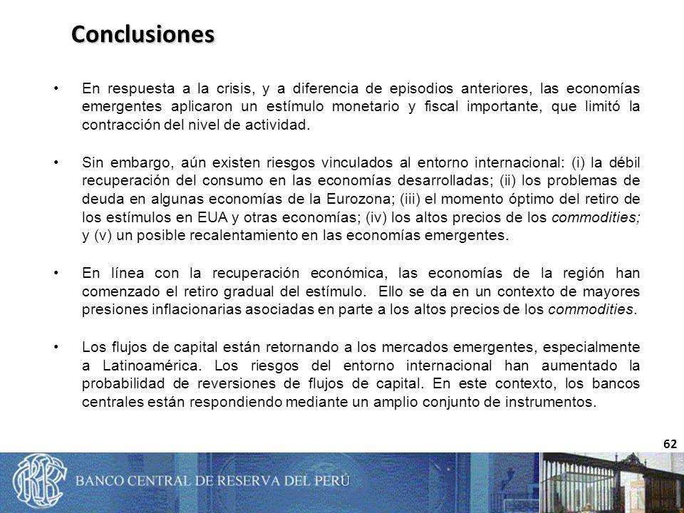 62 Conclusiones En respuesta a la crisis, y a diferencia de episodios anteriores, las economías emergentes aplicaron un estímulo monetario y fiscal importante, que limitó la contracción del nivel de actividad.