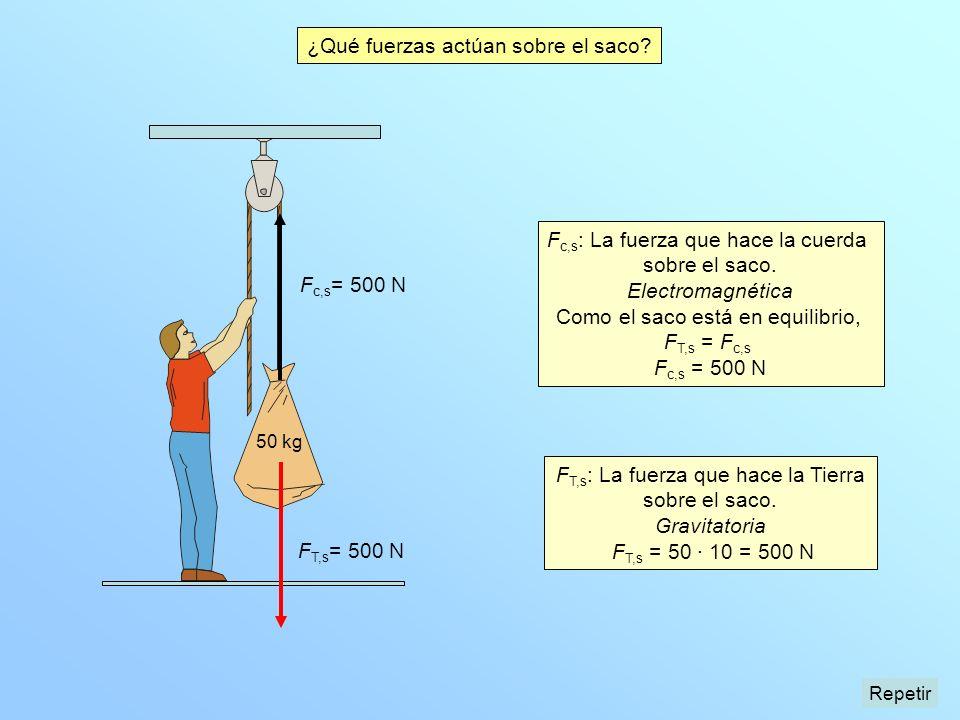 F T,s = 500 N F T,s : La fuerza que hace la Tierra sobre el saco. Gravitatoria F T,s = 50 · 10 = 500 N 50 kg F c,s : La fuerza que hace la cuerda sobr