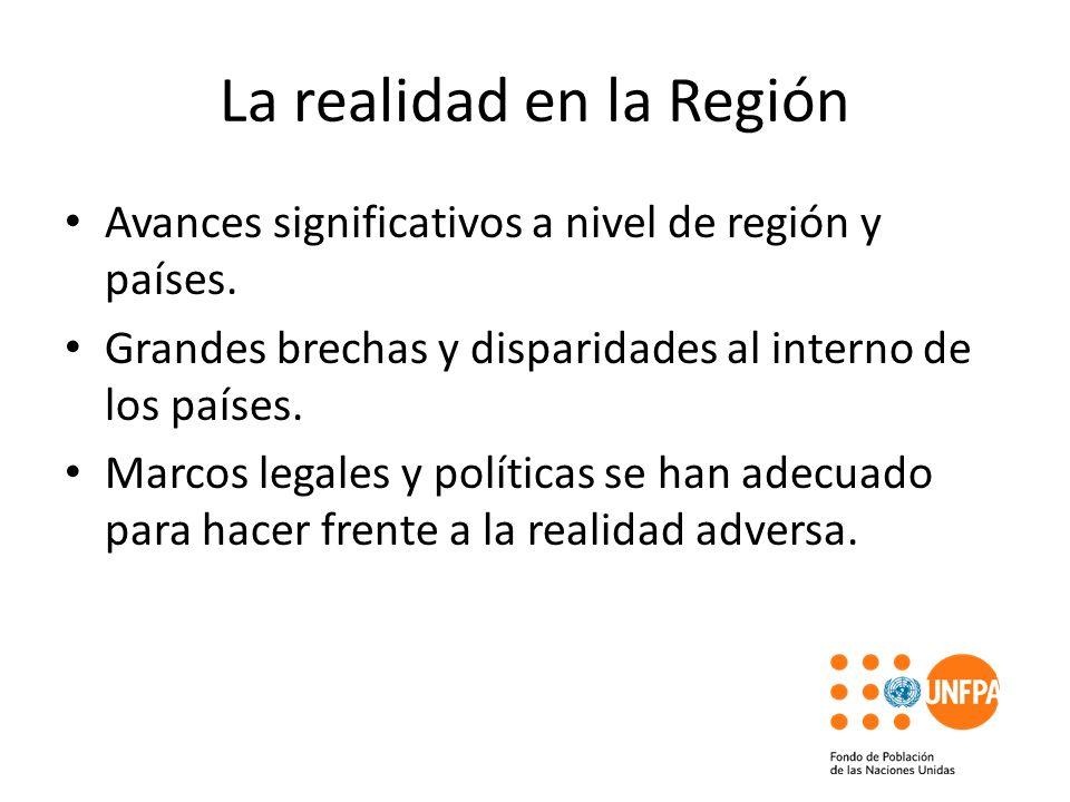 La realidad en la Región Avances significativos a nivel de región y países. Grandes brechas y disparidades al interno de los países. Marcos legales y