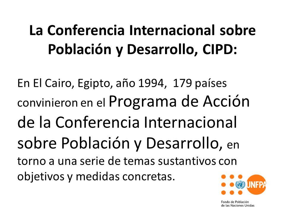 La Conferencia Internacional sobre Población y Desarrollo, CIPD: En El Cairo, Egipto, año 1994, 179 países convinieron en el Programa de Acción de la