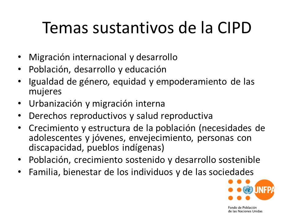 Temas sustantivos de la CIPD Migración internacional y desarrollo Población, desarrollo y educación Igualdad de género, equidad y empoderamiento de la