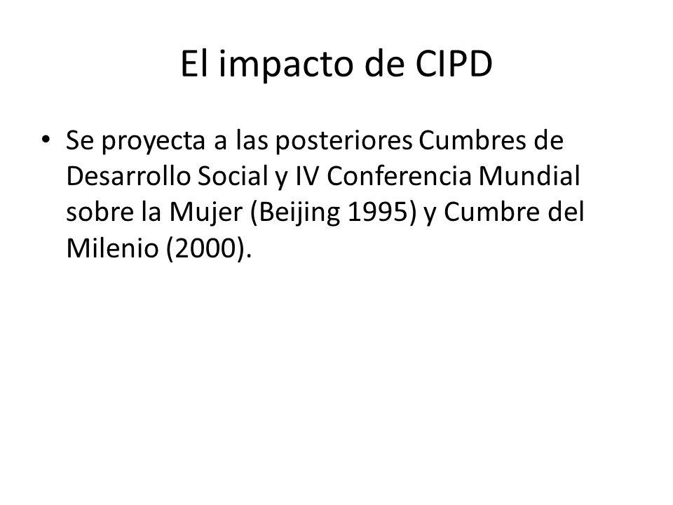 El impacto de CIPD Se proyecta a las posteriores Cumbres de Desarrollo Social y IV Conferencia Mundial sobre la Mujer (Beijing 1995) y Cumbre del Mile