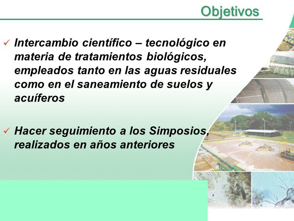 Intercambio científico – tecnológico en materia de tratamientos biológicos, empleados tanto en las aguas residuales como en el saneamiento de suelos y acuíferos Hacer seguimiento a los Simposios, realizados en años anterioresObjetivos