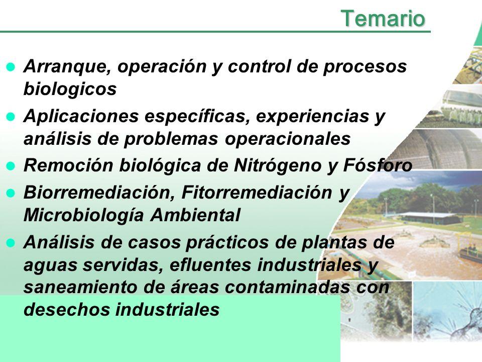 Temario Tratamientos Especiales –- Eliminación de nutrientes –- Biorremediación de suelos y acuíferos –- Reuso del agua –- Procesos avanzados