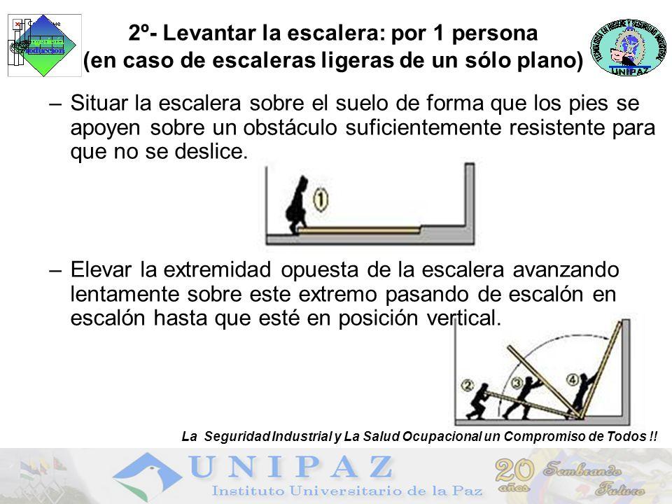 2º- Levantar la escalera: por 1 persona (en caso de escaleras ligeras de un sólo plano) –Situar la escalera sobre el suelo de forma que los pies se apoyen sobre un obstáculo suficientemente resistente para que no se deslice.