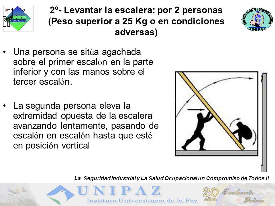 2º- Levantar la escalera: por 2 personas (Peso superior a 25 Kg o en condiciones adversas) Una persona se sit ú a agachada sobre el primer escal ó n en la parte inferior y con las manos sobre el tercer escal ó n.