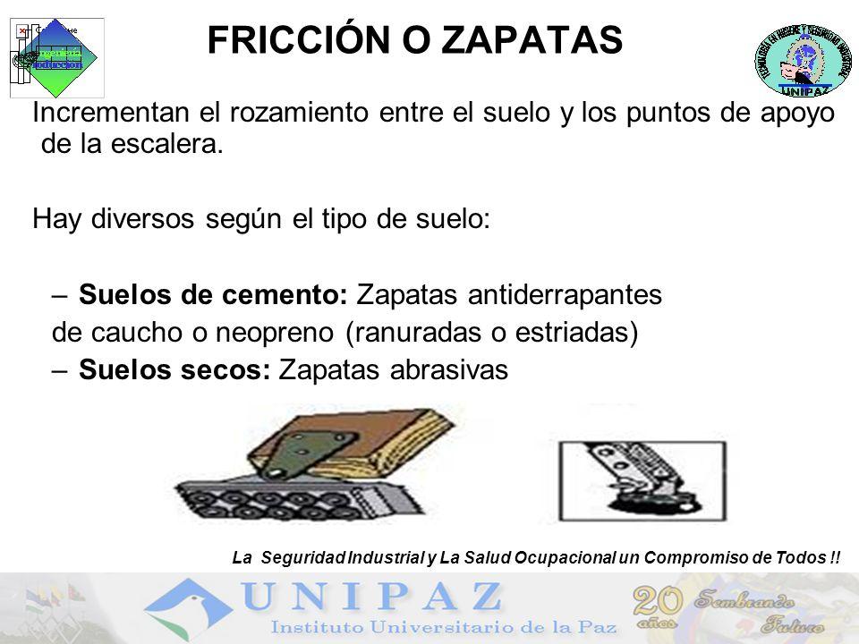 FRICCIÓN O ZAPATAS Incrementan el rozamiento entre el suelo y los puntos de apoyo de la escalera.