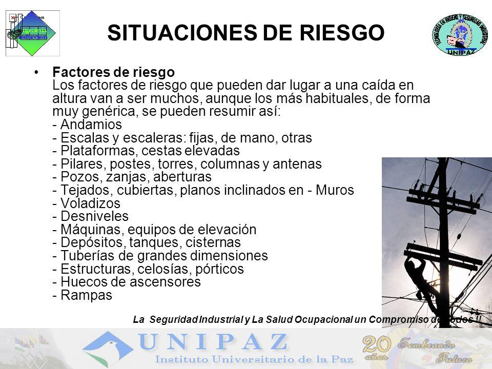 SITUACIONES DE RIESGO Factores de riesgo Los factores de riesgo que pueden dar lugar a una caída en altura van a ser muchos, aunque los más habituales, de forma muy genérica, se pueden resumir así: - Andamios - Escalas y escaleras: fijas, de mano, otras - Plataformas, cestas elevadas - Pilares, postes, torres, columnas y antenas - Pozos, zanjas, aberturas - Tejados, cubiertas, planos inclinados en - Muros - Voladizos - Desniveles - Máquinas, equipos de elevación - Depósitos, tanques, cisternas - Tuberías de grandes dimensiones - Estructuras, celosías, pórticos - Huecos de ascensores - Rampas La Seguridad Industrial y La Salud Ocupacional un Compromiso de Todos !!