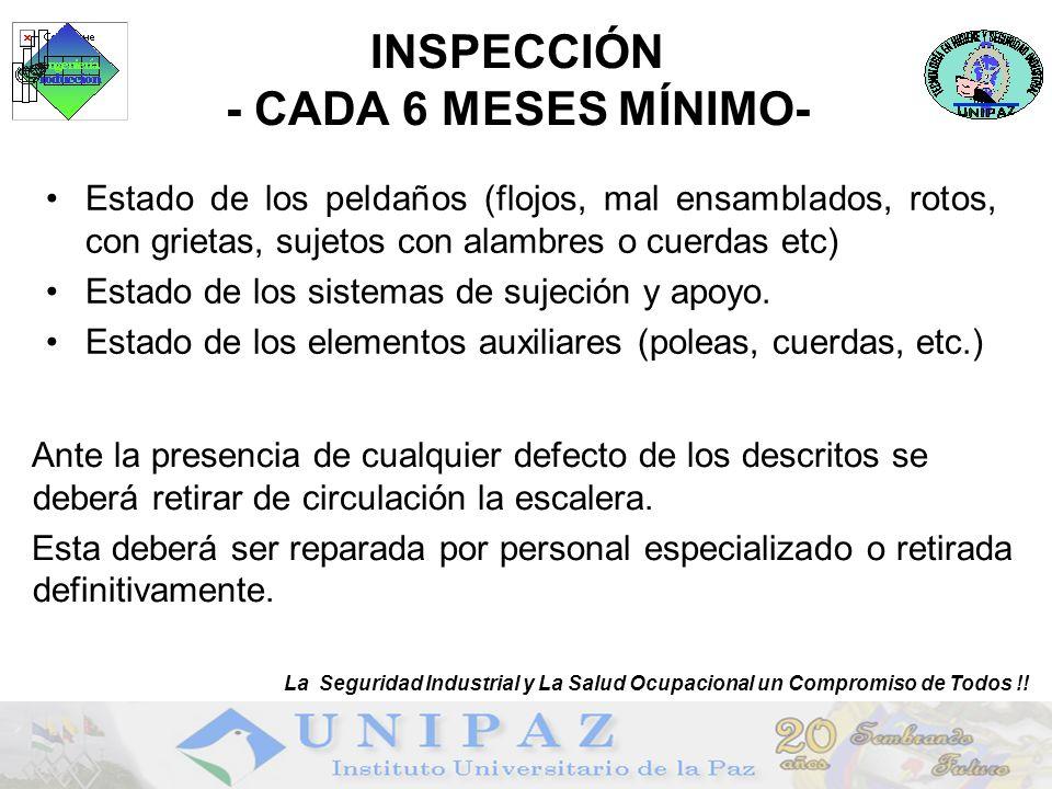 INSPECCIÓN - CADA 6 MESES MÍNIMO- Estado de los peldaños (flojos, mal ensamblados, rotos, con grietas, sujetos con alambres o cuerdas etc) Estado de los sistemas de sujeción y apoyo.