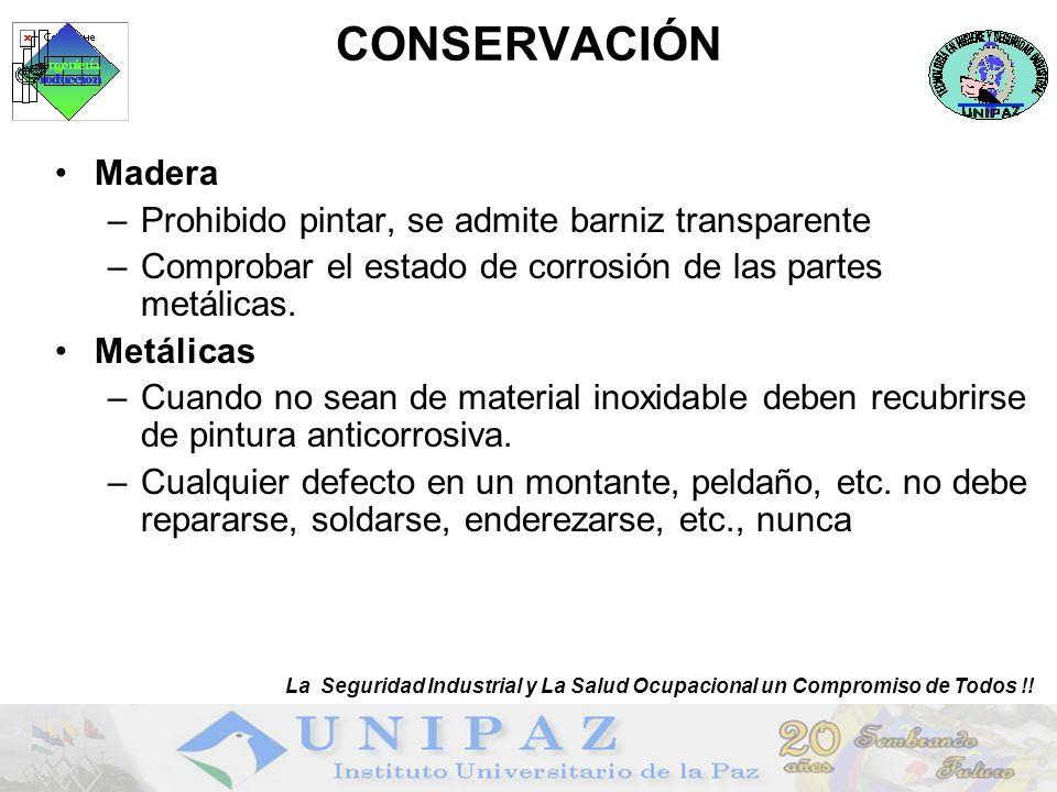 CONSERVACIÓN Madera –Prohibido pintar, se admite barniz transparente –Comprobar el estado de corrosión de las partes metálicas.