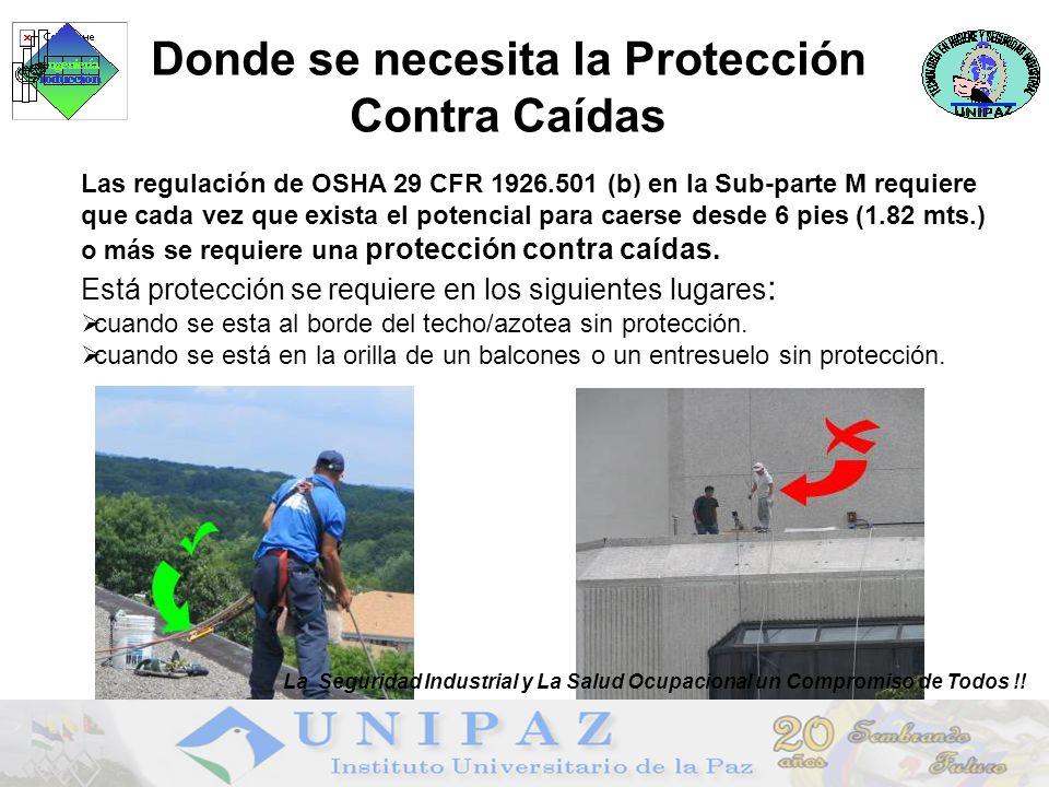 Donde se necesita la Protección Contra Caídas Las regulación de OSHA 29 CFR 1926.501 (b) en la Sub-parte M requiere que cada vez que exista el potencial para caerse desde 6 pies (1.82 mts.) o más se requiere una protección contra caídas.