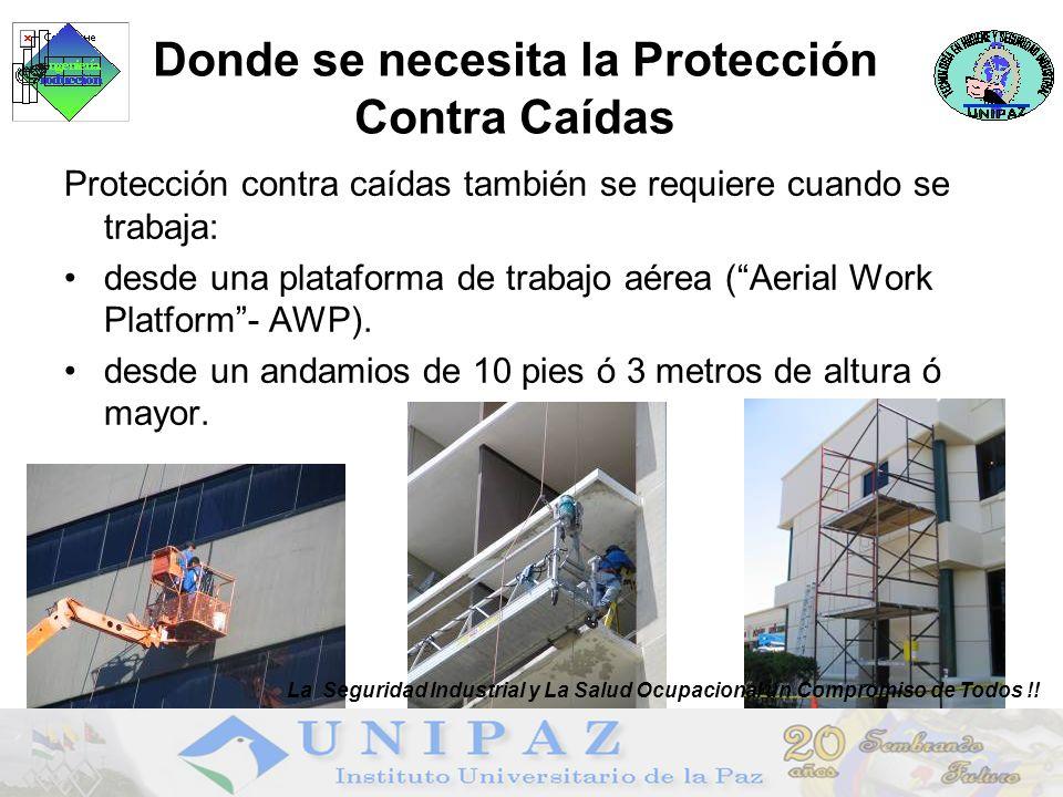 Protección contra caídas también se requiere cuando se trabaja: desde una plataforma de trabajo aérea (Aerial Work Platform- AWP).