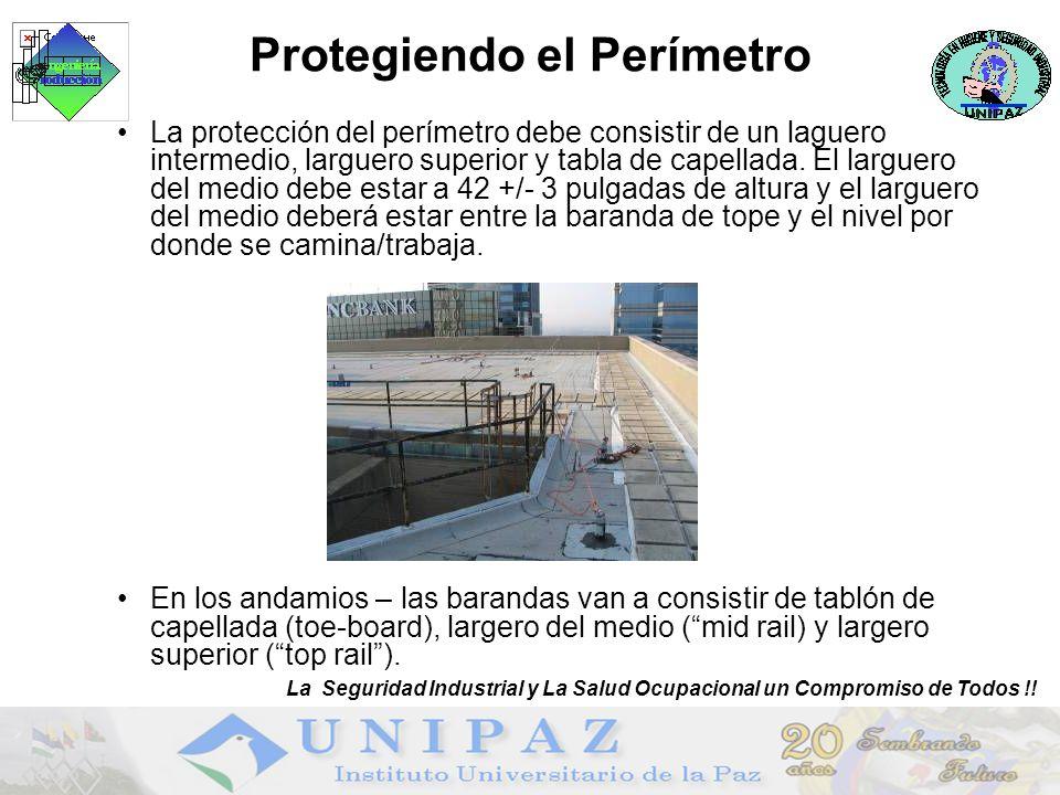 La protección del perímetro debe consistir de un laguero intermedio, larguero superior y tabla de capellada.