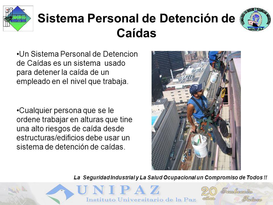 Sistema Personal de Detención de Caídas Un Sistema Personal de Detencion de Caídas es un sistema usado para detener la caída de un empleado en el nivel que trabaja.