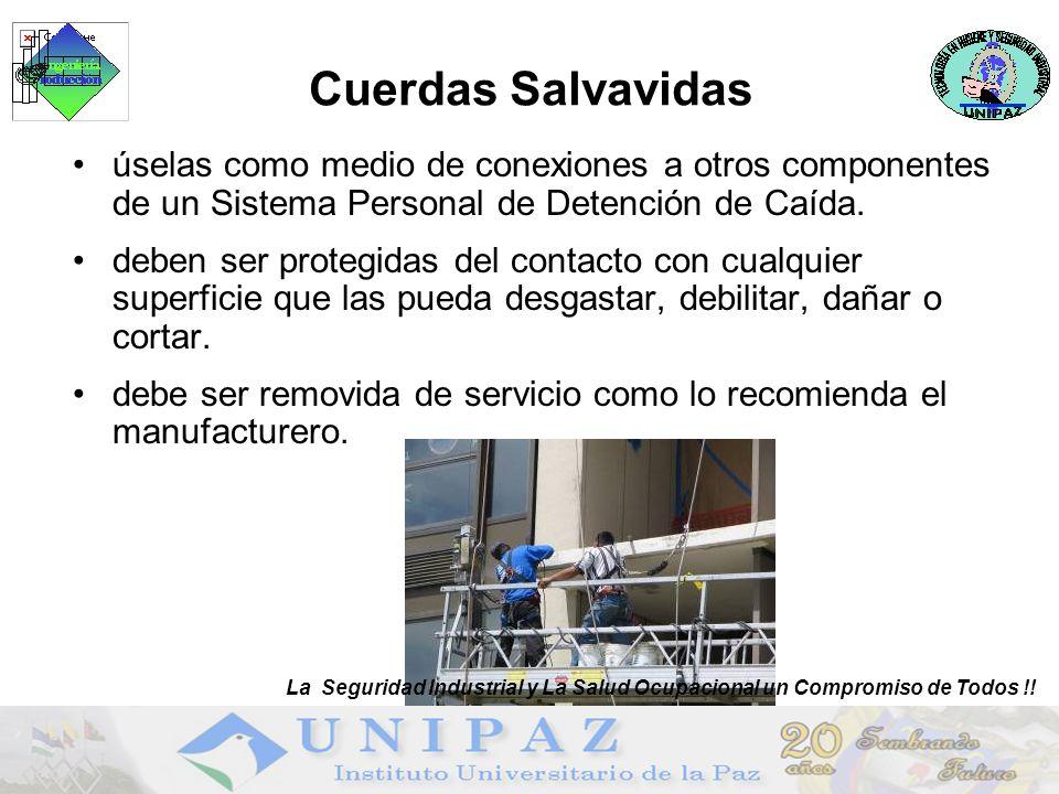 Cuerdas Salvavidas úselas como medio de conexiones a otros componentes de un Sistema Personal de Detención de Caída.