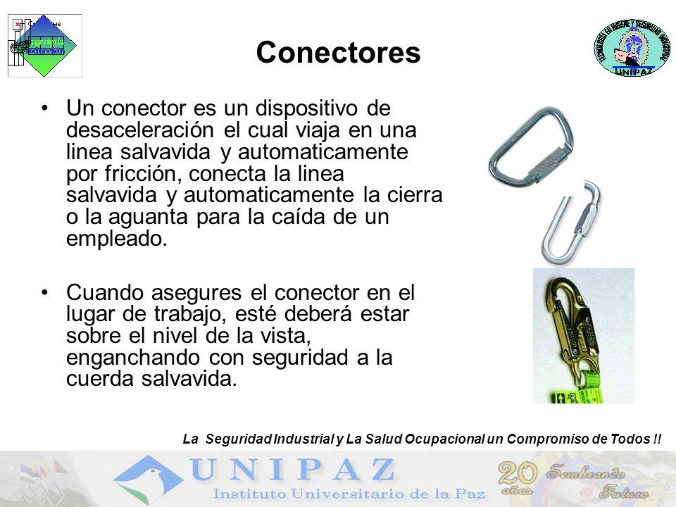 Conectores Un conector es un dispositivo de desaceleración el cual viaja en una linea salvavida y automaticamente por fricción, conecta la linea salvavida y automaticamente la cierra o la aguanta para la caída de un empleado.