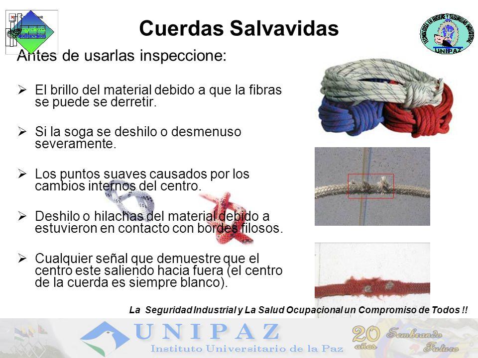 Cuerdas Salvavidas Antes de usarlas inspeccione: El brillo del material debido a que la fibras se puede se derretir.