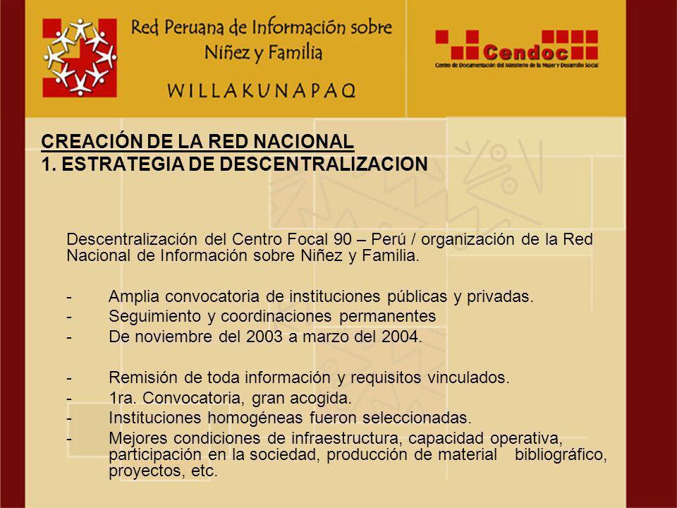 Descentralización del Centro Focal 90 – Perú / organización de la Red Nacional de Información sobre Niñez y Familia.