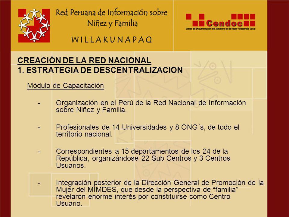 Módulo de Capacitación -Organización en el Perú de la Red Nacional de Información sobre Niñez y Familia.
