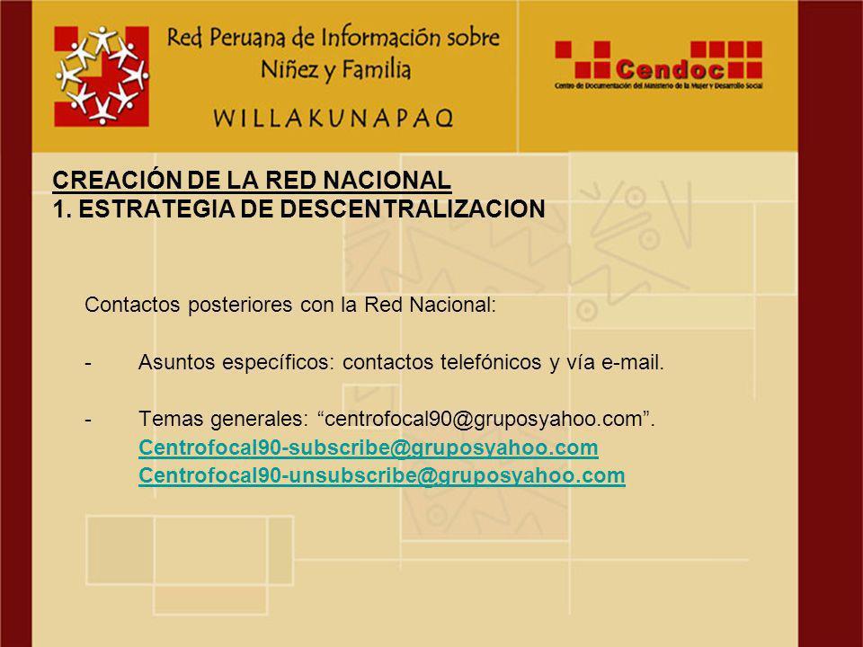 CONSTANCIA de la Red Peruana de Información sobre Niñez y Familia