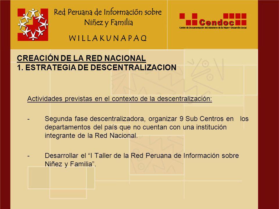 Actividades previstas en el contexto de la descentralización: -Segunda fase descentralizadora, organizar 9 Sub Centros en los departamentos del país que no cuentan con una institución integrante de la Red Nacional.