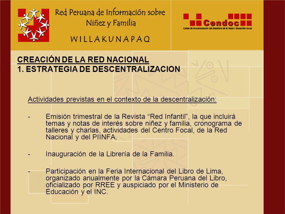 La Red Nacional de Información sobre Niñez y Familia del Perú, adoptó el siguiente nombre: Red Peruana de Información sobre Niñez y Familia - WILLAKUNAPAQ.