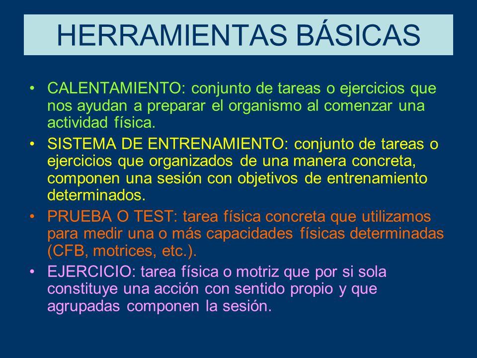 HERRAMIENTAS BÁSICAS CALENTAMIENTO: conjunto de tareas o ejercicios que nos ayudan a preparar el organismo al comenzar una actividad física.