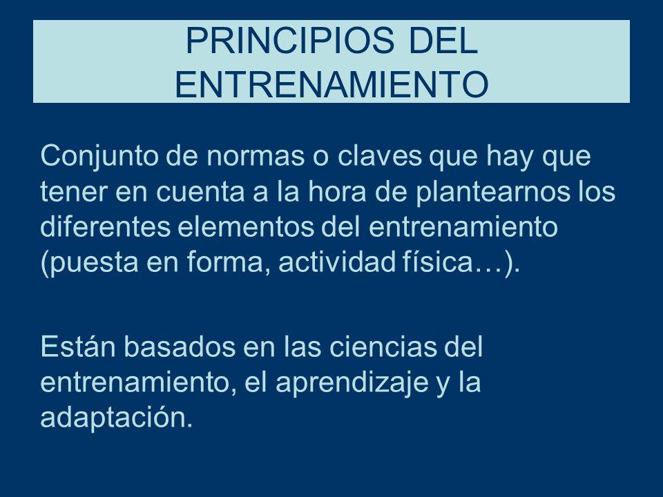 PRINCIPIOS DEL ENTRENAMIENTO Conjunto de normas o claves que hay que tener en cuenta a la hora de plantearnos los diferentes elementos del entrenamiento (puesta en forma, actividad física…).