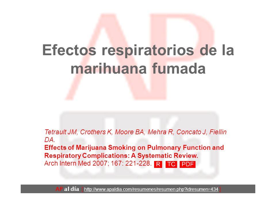 Efectos respiratorios de la marihuana fumada AP al día [ http://www.apaldia.com/resumenes/resumen.php?idresumen=434 ] Tetrault JM, Crothers K, Moore B