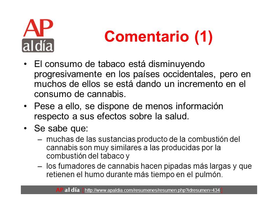 AP al día [ http://www.apaldia.com/resumenes/resumen.php?idresumen=434 ] Comentario (1) El consumo de tabaco está disminuyendo progresivamente en los
