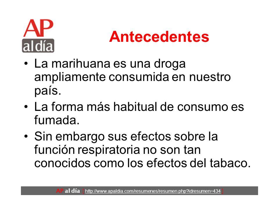 AP al día [ http://www.apaldia.com/resumenes/resumen.php?idresumen=434 ] Objetivos Revisar los efectos de fumar marihuana sobre la función y las complicaciones respiratorias.
