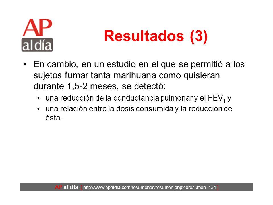 AP al día [ http://www.apaldia.com/resumenes/resumen.php?idresumen=434 ] Resultados (3) En cambio, en un estudio en el que se permitió a los sujetos f