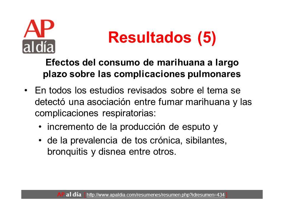 AP al día [ http://www.apaldia.com/resumenes/resumen.php?idresumen=434 ] Resultados (5) En todos los estudios revisados sobre el tema se detectó una a
