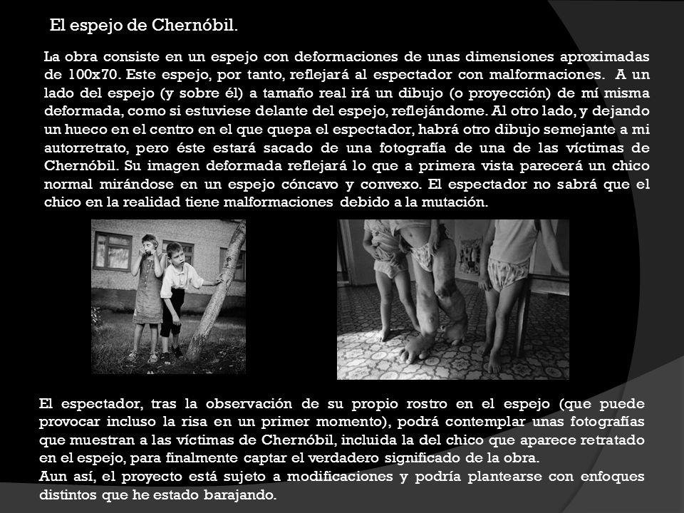 El espejo de Chernóbil. La obra consiste en un espejo con deformaciones de unas dimensiones aproximadas de 100x70. Este espejo, por tanto, reflejará a