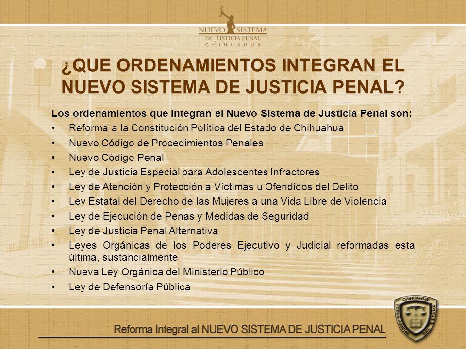 ¿QUE ORDENAMIENTOS INTEGRAN EL NUEVO SISTEMA DE JUSTICIA PENAL? Los ordenamientos que integran el Nuevo Sistema de Justicia Penal son: Reforma a la Co