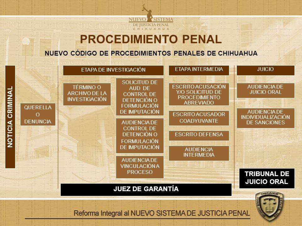 PROCEDIMIENTO PENAL NUEVO CÓDIGO DE PROCEDIMIENTOS PENALES DE CHIHUAHUA QUERELLA O DENUNCIA ETAPA DE INVESTIGACIÓN ETAPA INTERMEDIAJUICIO NOTICIA CRIM