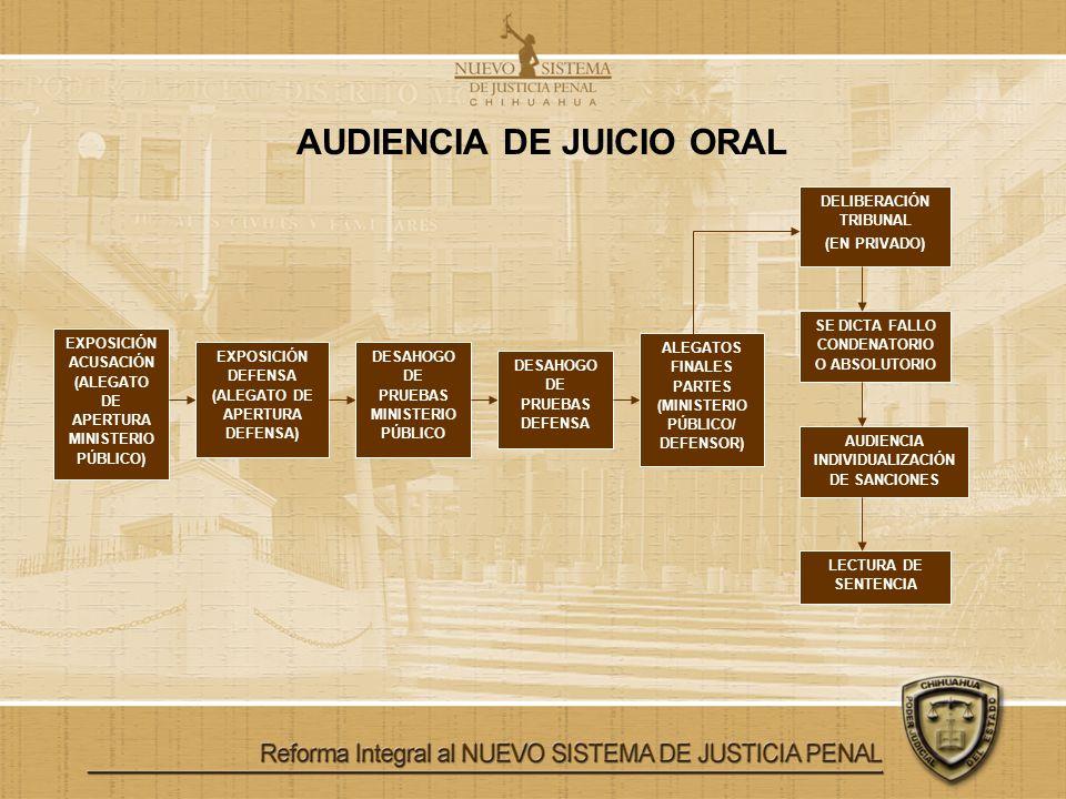 AUDIENCIA DE JUICIO ORAL EXPOSICIÓN ACUSACIÓN (ALEGATO DE APERTURA MINISTERIO PÚBLICO) EXPOSICIÓN DEFENSA (ALEGATO DE APERTURA DEFENSA) DESAHOGO DE PR