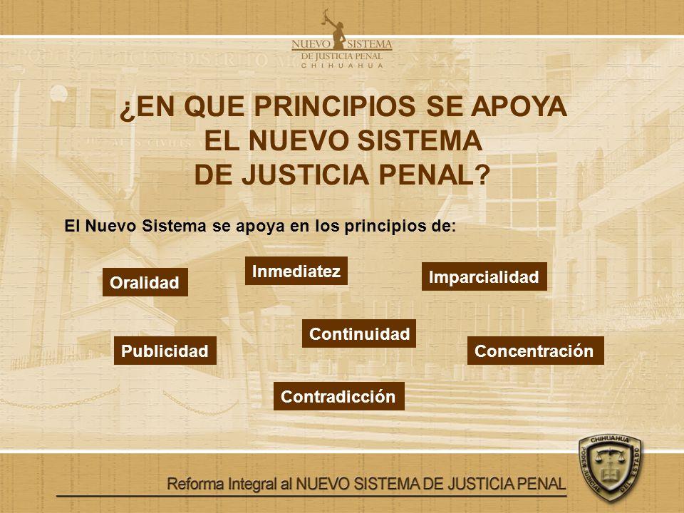 ¿EN QUE PRINCIPIOS SE APOYA EL NUEVO SISTEMA DE JUSTICIA PENAL? El Nuevo Sistema se apoya en los principios de: Oralidad Inmediatez Imparcialidad Publ