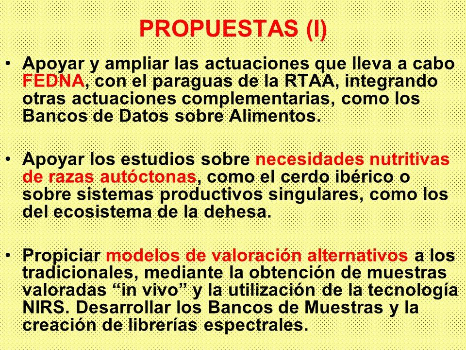 PROPUESTAS (I) Apoyar y ampliar las actuaciones que lleva a cabo FEDNA, con el paraguas de la RTAA, integrando otras actuaciones complementarias, como