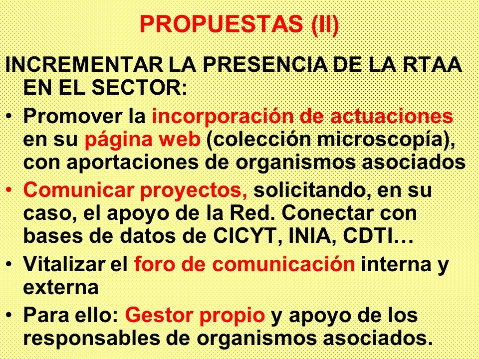 PROPUESTAS (II) INCREMENTAR LA PRESENCIA DE LA RTAA EN EL SECTOR: Promover la incorporación de actuaciones en su página web (colección microscopía), con aportaciones de organismos asociados Comunicar proyectos, solicitando, en su caso, el apoyo de la Red.