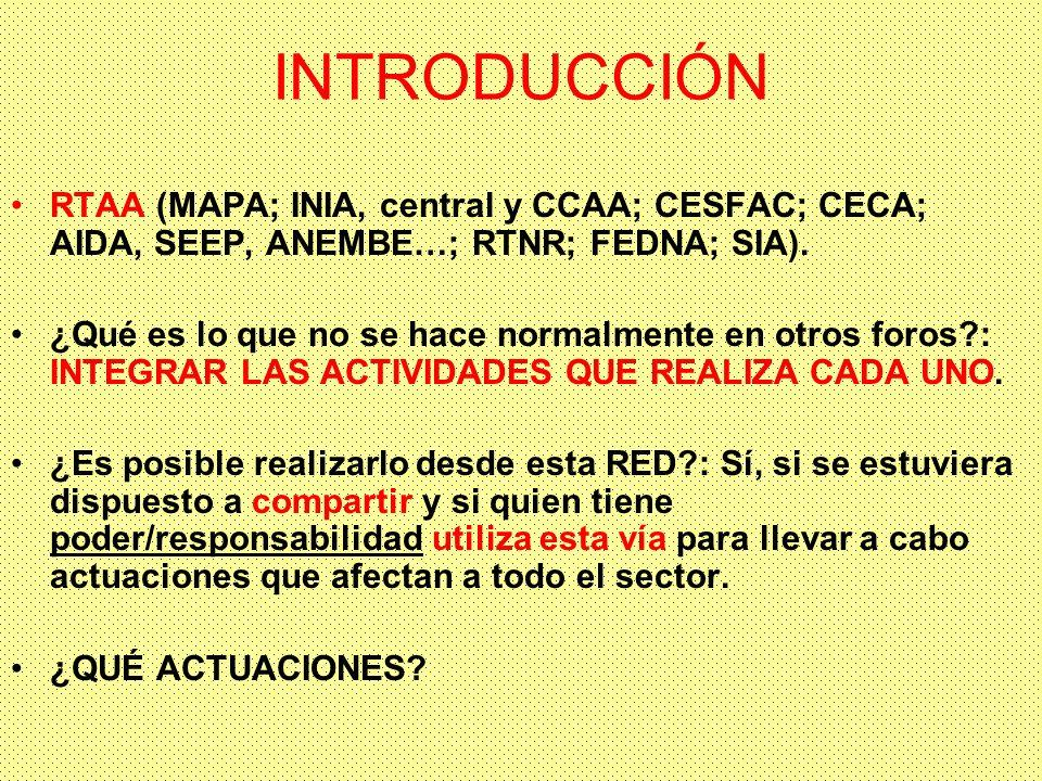 INTRODUCCIÓN RTAA (MAPA; INIA, central y CCAA; CESFAC; CECA; AIDA, SEEP, ANEMBE…; RTNR; FEDNA; SIA).