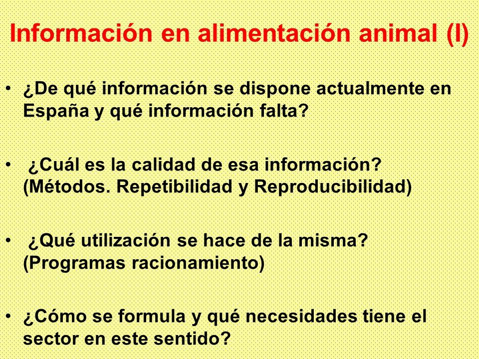 Información en alimentación animal (I) ¿De qué información se dispone actualmente en España y qué información falta.