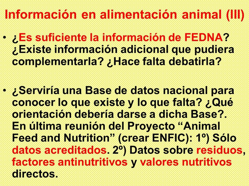 Información en alimentación animal (lII) ¿Es suficiente la información de FEDNA? ¿Existe información adicional que pudiera complementarla? ¿Hace falta